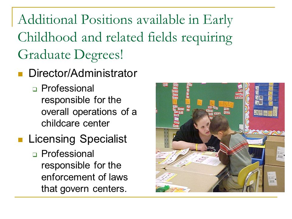 Additional Positions available in Early Childhood and related fields requiring Graduate Degrees.