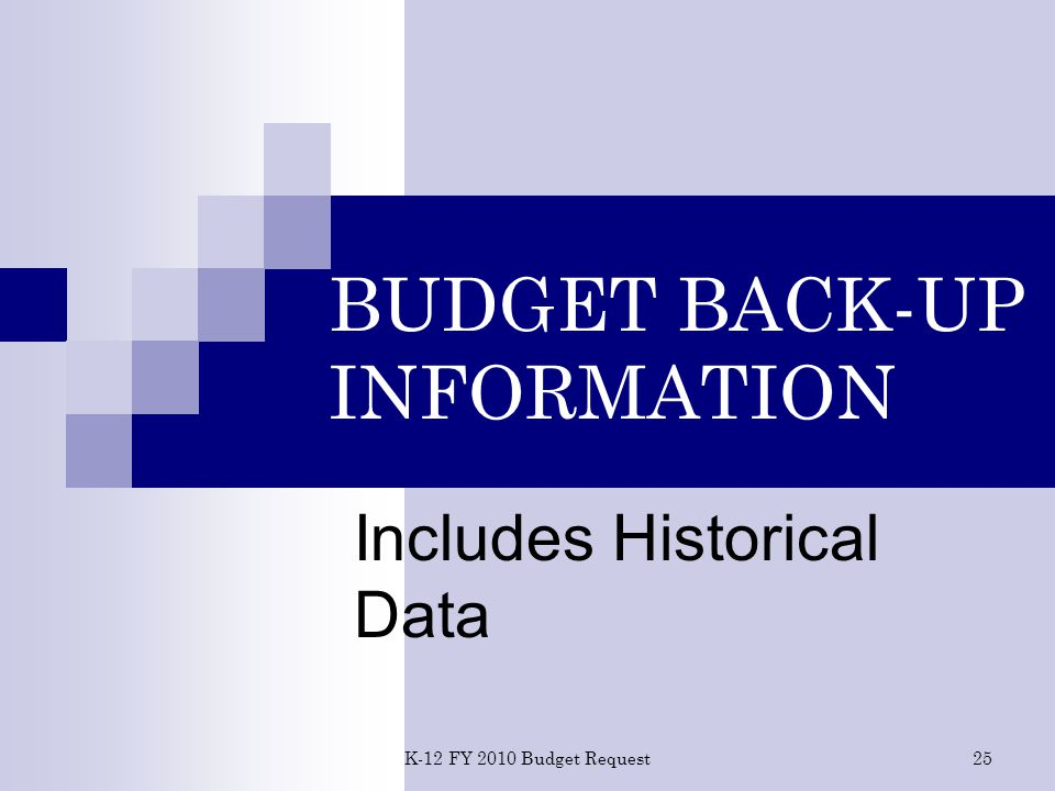 K-12 FY 2010 Budget Request 25 BUDGET BACK-UP INFORMATION Includes Historical Data