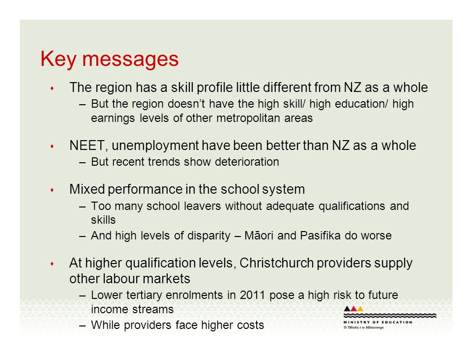 Key messages The region has a skill profile little different from NZ as a whole –But the region doesnt have the high skill/ high education/ high earnings levels of other metropolitan areas NEET, unemployment have been better than NZ as a whole –But recent trends show deterioration Mixed performance in the school system –Too many school leavers without adequate qualifications and skills –And high levels of disparity – Māori and Pasifika do worse At higher qualification levels, Christchurch providers supply other labour markets –Lower tertiary enrolments in 2011 pose a high risk to future income streams –While providers face higher costs