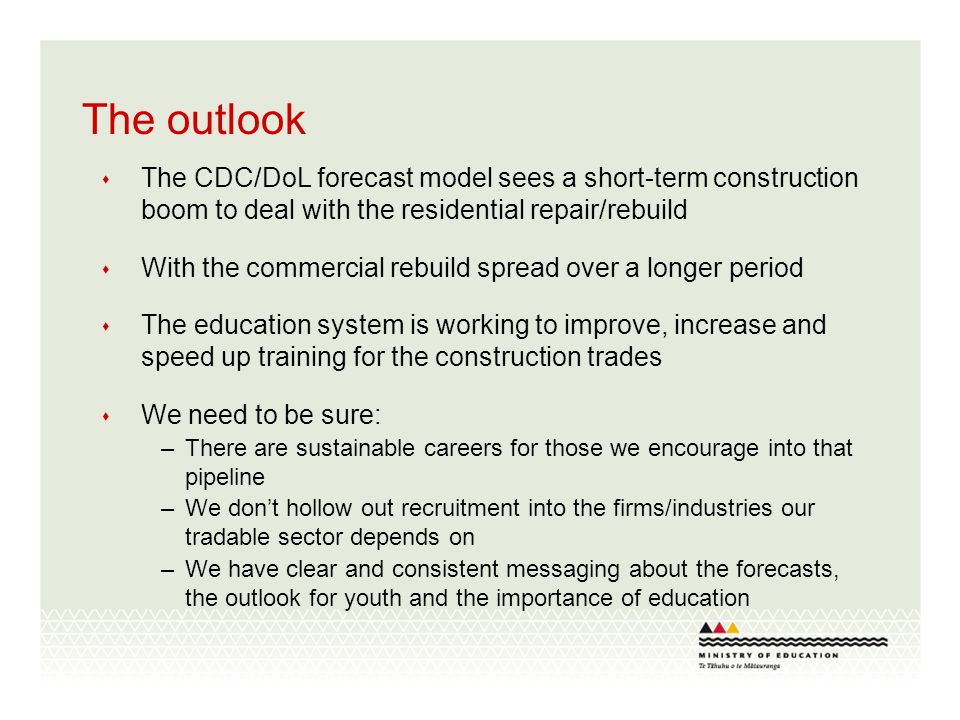 The outlook The CDC/DoL forecast model sees a short-term construction boom to deal with the residential repair/rebuild With the commercial rebuild spread over a longer period The education system is working to improve, increase and speed up training for the construction trades We need to be sure: –There are sustainable careers for those we encourage into that pipeline –We dont hollow out recruitment into the firms/industries our tradable sector depends on –We have clear and consistent messaging about the forecasts, the outlook for youth and the importance of education