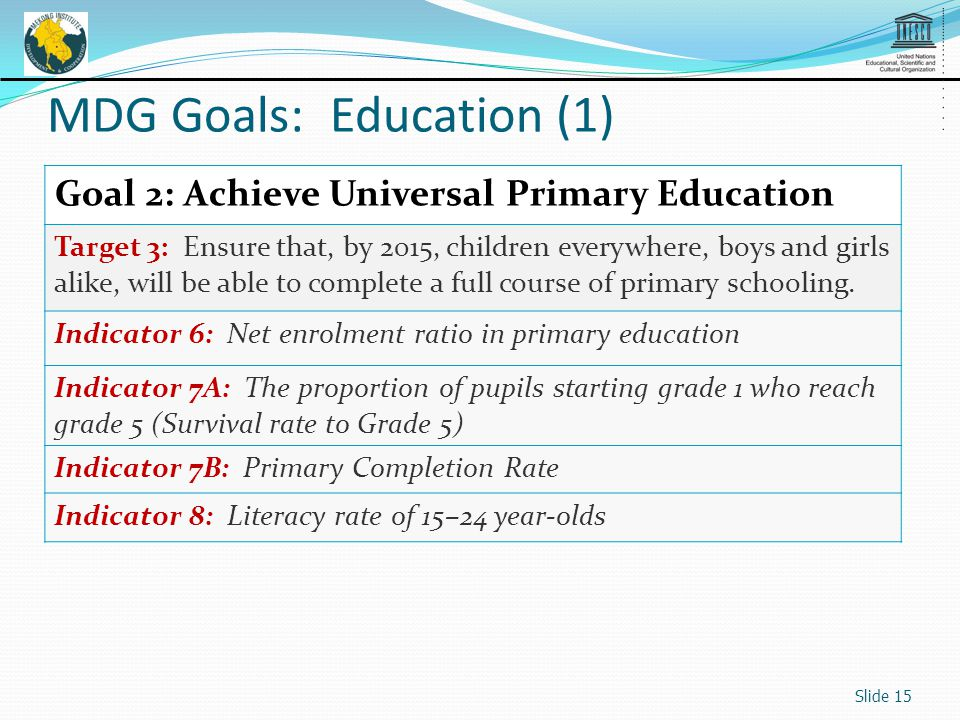 Goal 2: Achieve Universal Primary Education Target 3: Ensure that, by 2015, children everywhere, boys and girls alike, will be able to complete a full course of primary schooling.