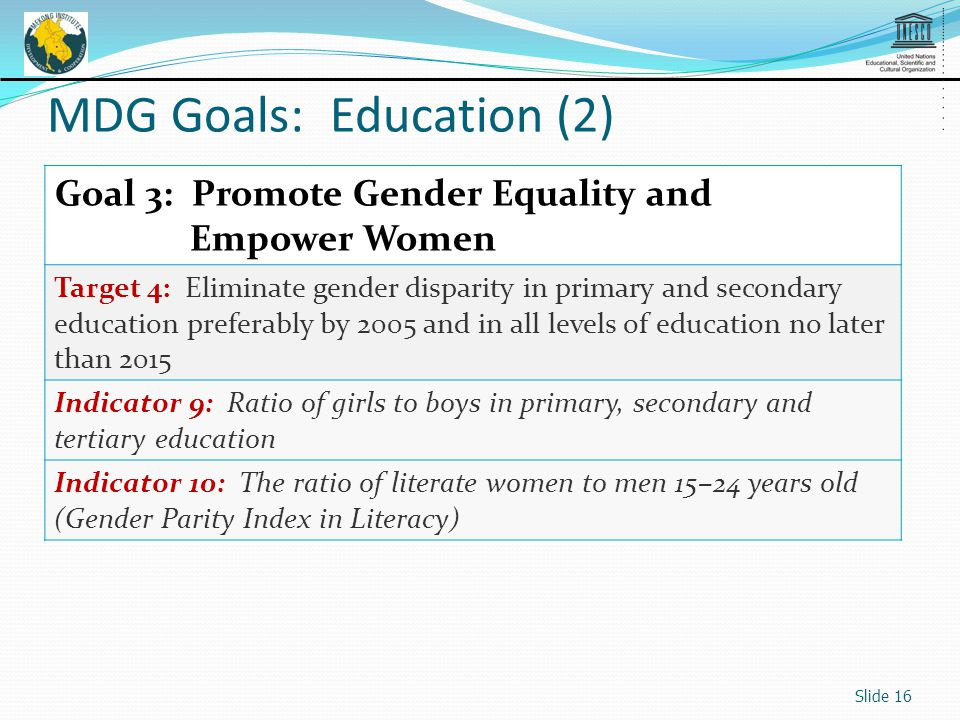 Goal 3: Promote Gender Equality and Empower Women Target 4: Eliminate gender disparity in primary and secondary education preferably by 2005 and in all levels of education no later than 2015 Indicator 9: Ratio of girls to boys in primary, secondary and tertiary education Indicator 10: The ratio of literate women to men 15–24 years old (Gender Parity Index in Literacy) Slide 16 MDG Goals: Education (2)