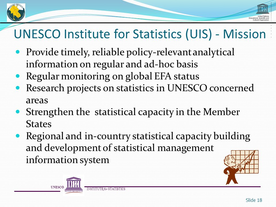 Provide timely, reliable policy-relevant analytical information on regular and ad-hoc basis Regular monitoring on global EFA status Research projects on statistics in UNESCO concerned areas Strengthen the statistical capacity in the Member States Regional and in-country statistical capacity building and development of statistical management information system Slide 18 UNESCO Institute for Statistics (UIS) - Mission UNESCO INSTITUTE for STATISTICS