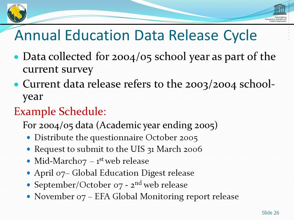 Data collected for 2004/05 school year as part of the current survey Current data release refers to the 2003/2004 school- year Example Schedule: For 2004/05 data (Academic year ending 2005) Distribute the questionnaire October 2005 Request to submit to the UIS 31 March 2006 Mid-March07 – 1 st web release April 07– Global Education Digest release September/October 07 - 2 nd web release November 07 – EFA Global Monitoring report release Slide 26 Annual Education Data Release Cycle