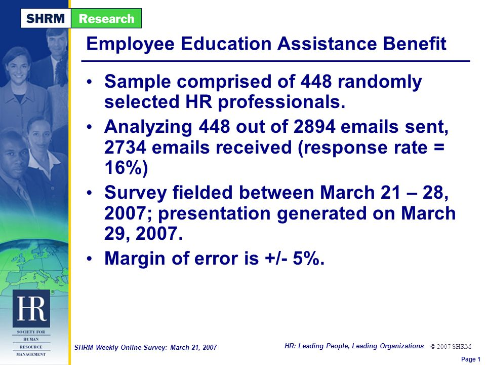 HR: Leading People, Leading Organizations © 2007 SHRM SHRM Weekly Online Survey: March 21, 2007 Employee Education Assistance Benefit Sample comprised