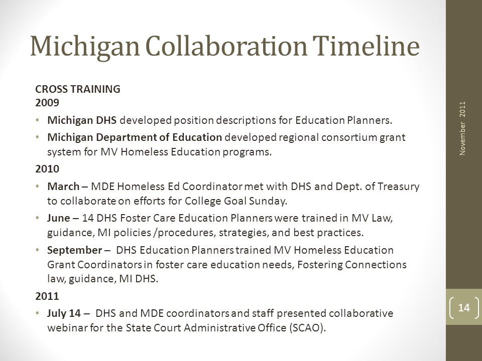Michigan Collaboration Timeline CROSS TRAINING 2009 Michigan DHS developed position descriptions for Education Planners. Michigan Department of Educat