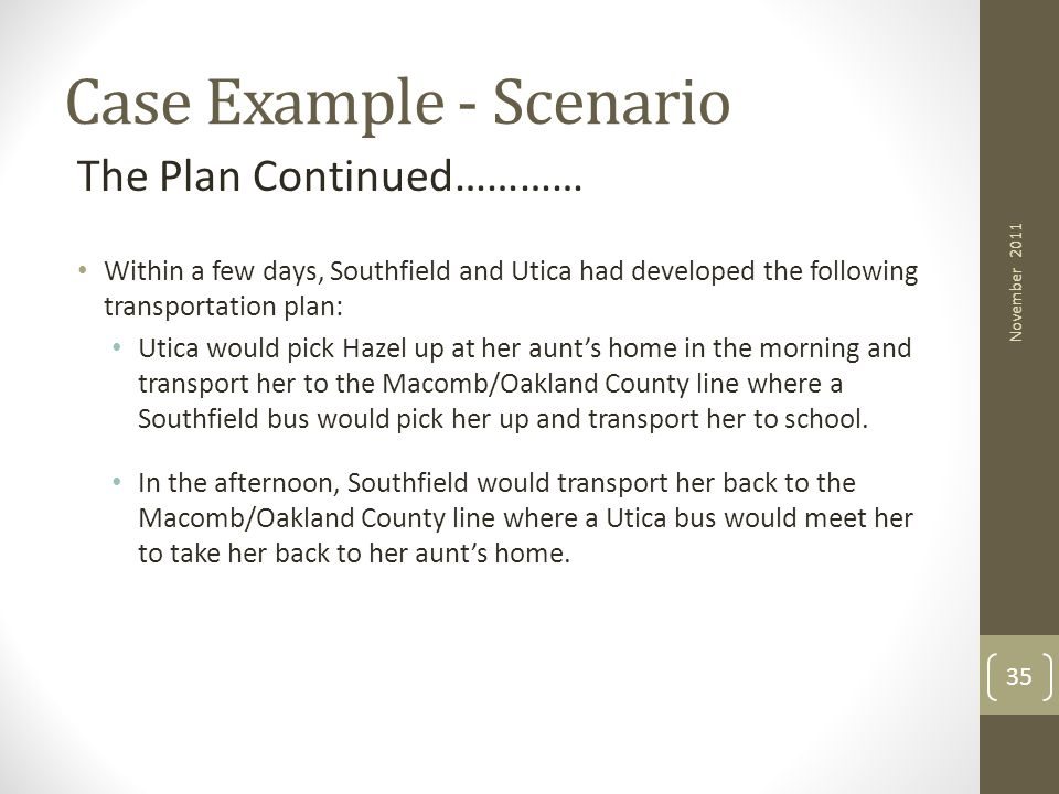 Case Example - Scenario The Plan Continued………… Within a few days, Southfield and Utica had developed the following transportation plan: Utica would pi