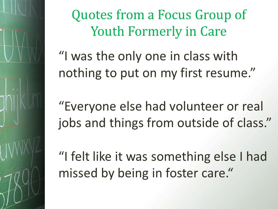 I was the only one in class with nothing to put on my first resume. Everyone else had volunteer or real jobs and things from outside of class. I felt