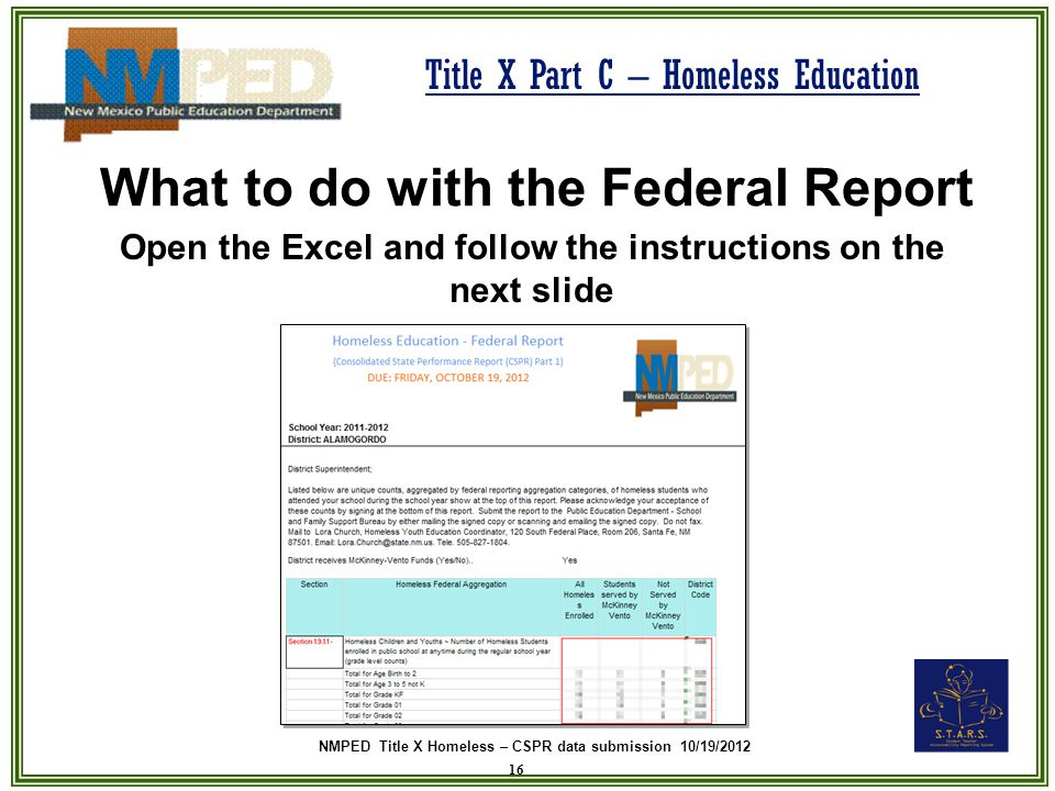 NMPED Title X Homeless – CSPR data submission 10/19/2012 Title X Part C – Homeless Education What to do with the Federal Report Open the Excel and fol