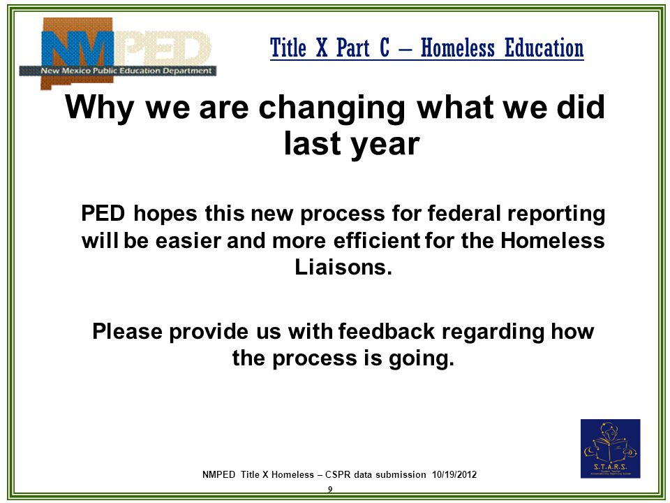 NMPED Title X Homeless – CSPR data submission 10/19/2012 Title X Part C – Homeless Education What to do with the Federal Report Follow these instructions 20 4.Email the same excel spreadsheet to Lora Church at Lora.Church@state.nm.usLora.Church@state.nm.us This particular excel spreadsheet will be uploaded into the Federal Report electronic template.