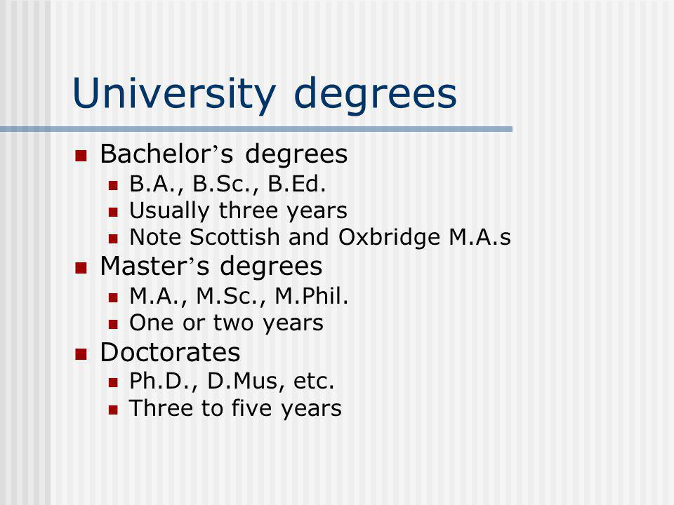 University degrees Bachelor s degrees B.A., B.Sc., B.Ed.