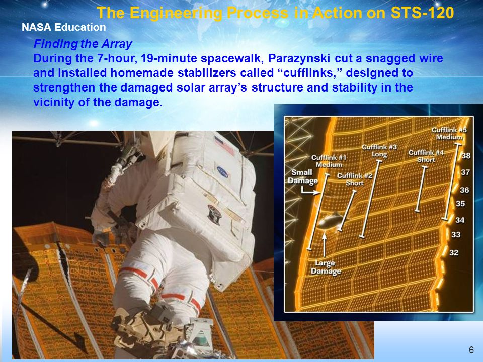 NASA Education 6 Finding the Array During the 7-hour, 19-minute spacewalk, Parazynski cut a snagged wire and installed homemade stabilizers called cufflinks, designed to strengthen the damaged solar arrays structure and stability in the vicinity of the damage.
