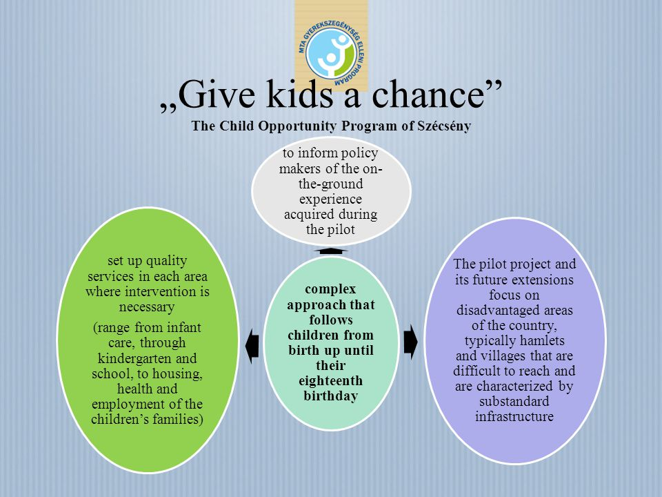 Give kids a chance The Child Opportunity Program of Szécsény complex approach that follows children from birth up until their eighteenth birthday to i