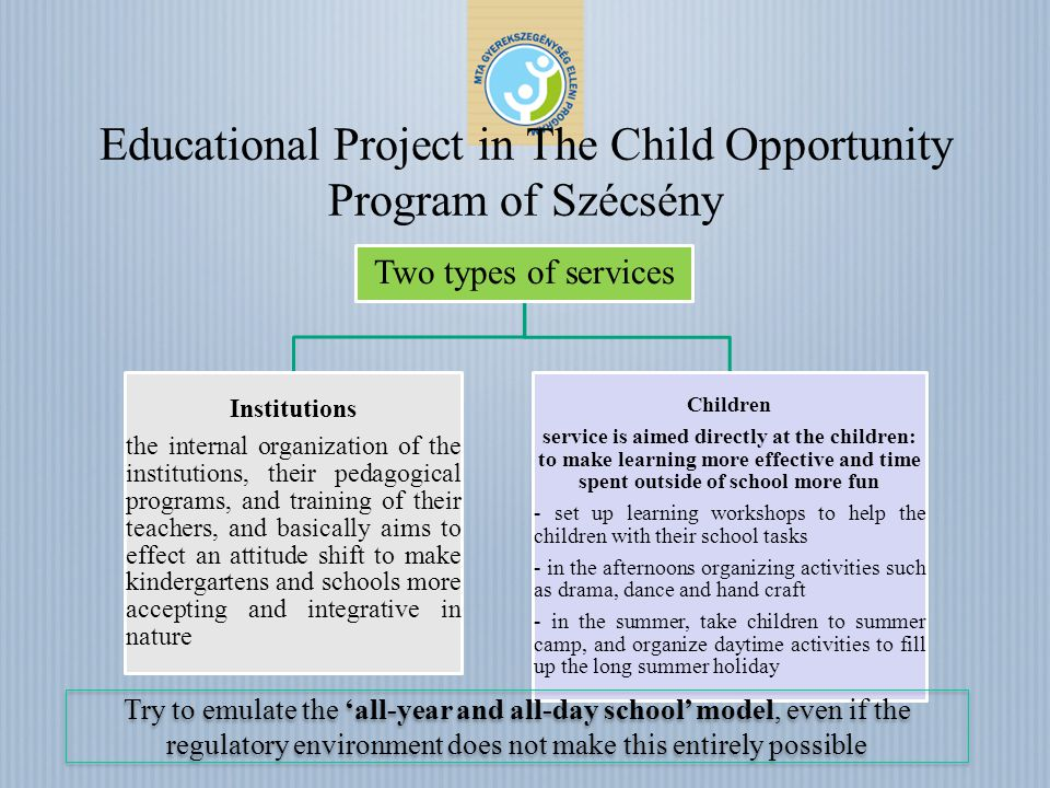 Educational Project in The Child Opportunity Program of Szécsény Two types of services Institutions the internal organization of the institutions, their pedagogical programs, and training of their teachers, and basically aims to effect an attitude shift to make kindergartens and schools more accepting and integrative in nature Children service is aimed directly at the children: to make learning more effective and time spent outside of school more fun - set up learning workshops to help the children with their school tasks - in the afternoons organizing activities such as drama, dance and hand craft - in the summer, take children to summer camp, and organize daytime activities to fill up the long summer holiday Try to emulate the all-year and all-day school model, even if the regulatory environment does not make this entirely possible