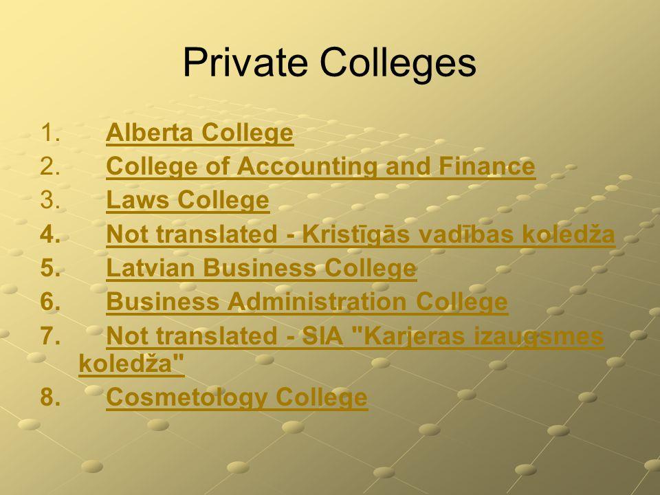 Private Colleges 1. 1. Alberta College Alberta College 2.