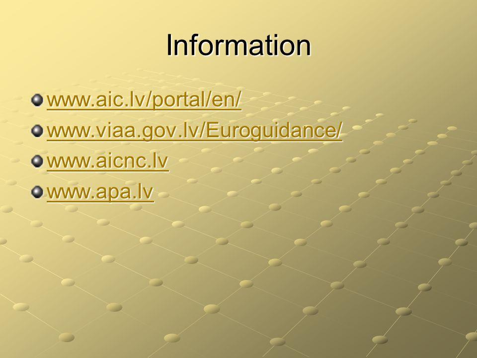 Information www.aic.lv/portal/en/ www.viaa.gov.lv/Euroguidance/ www.aicnc.lv www.apa.lv