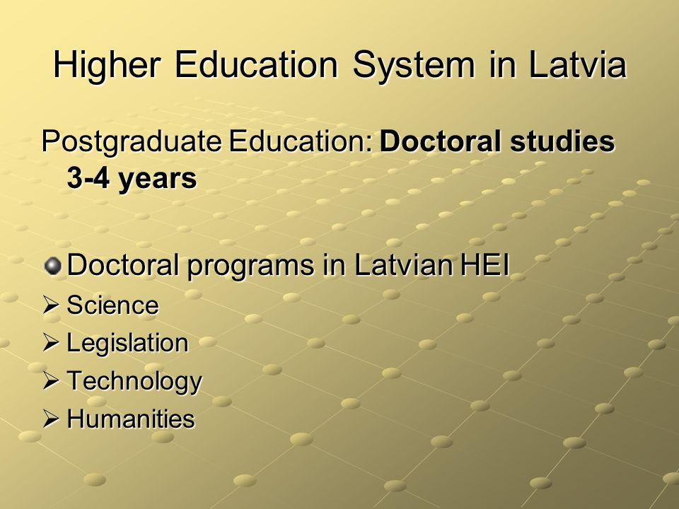 Higher Education System in Latvia Postgraduate Education: Doctoral studies 3-4 years Doctoral programs in Latvian HEI Science Science Legislation Legislation Technology Technology Humanities Humanities