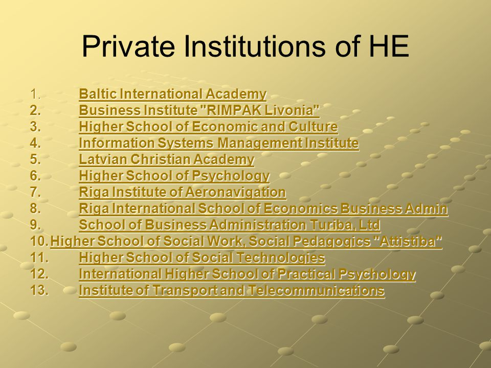 Private Institutions of HE 1. Baltic International Academy 1.