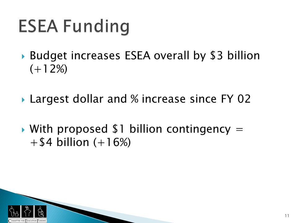Budget increases ESEA overall by $3 billion (+12%) Largest dollar and % increase since FY 02 With proposed $1 billion contingency = +$4 billion (+16%) 11