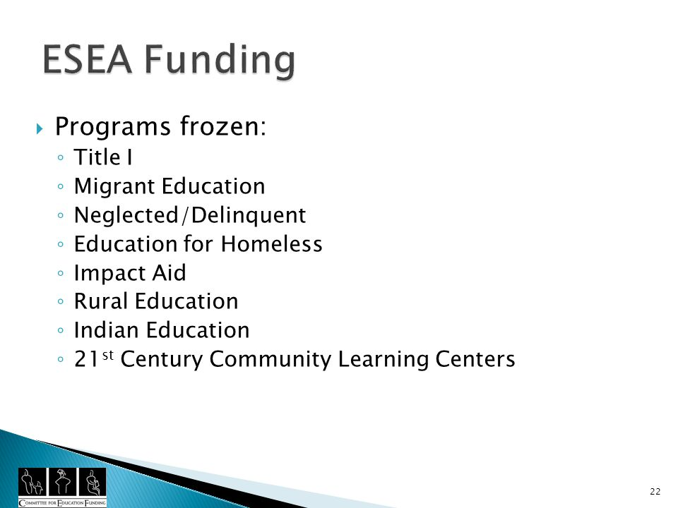 Programs frozen: Title I Migrant Education Neglected/Delinquent Education for Homeless Impact Aid Rural Education Indian Education 21 st Century Community Learning Centers 22