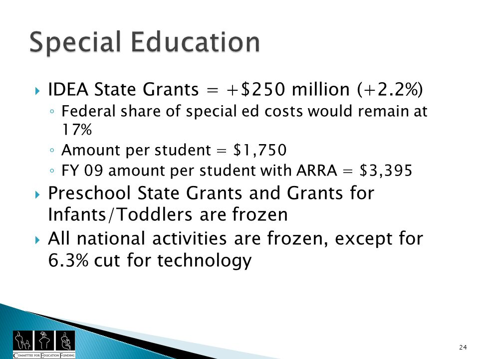 IDEA State Grants = +$250 million (+2.2%) Federal share of special ed costs would remain at 17% Amount per student = $1,750 FY 09 amount per student with ARRA = $3,395 Preschool State Grants and Grants for Infants/Toddlers are frozen All national activities are frozen, except for 6.3% cut for technology 24