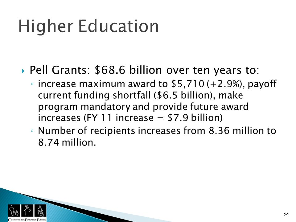 Higher Education Pell Grants: $68.6 billion over ten years to: increase maximum award to $5,710 (+2.9%), payoff current funding shortfall ($6.5 billion), make program mandatory and provide future award increases (FY 11 increase = $7.9 billion) Number of recipients increases from 8.36 million to 8.74 million.