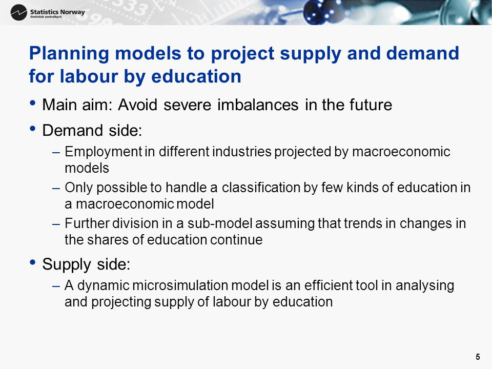 5 Planning models to project supply and demand for labour by education Main aim: Avoid severe imbalances in the future Demand side: –Employment in different industries projected by macroeconomic models –Only possible to handle a classification by few kinds of education in a macroeconomic model –Further division in a sub-model assuming that trends in changes in the shares of education continue Supply side: –A dynamic microsimulation model is an efficient tool in analysing and projecting supply of labour by education