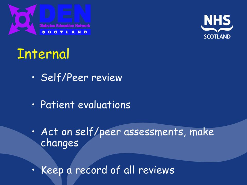 Internal Self/Peer review Patient evaluations Act on self/peer assessments, make changes Keep a record of all reviews