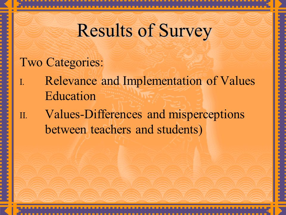 Results of Survey Two Categories: I. Relevance and Implementation of Values Education II. Values-Differences and misperceptions between teachers and s