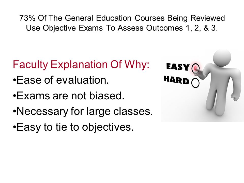 73% Of The General Education Courses Being Reviewed Use Objective Exams To Assess Outcomes 1, 2, & 3.