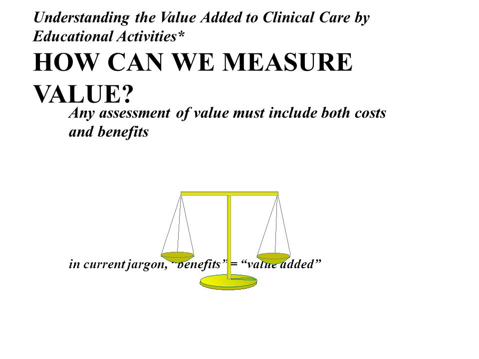 Understanding the Value Added to Clinical Care by Educational Activities* HOW CAN WE MEASURE VALUE.