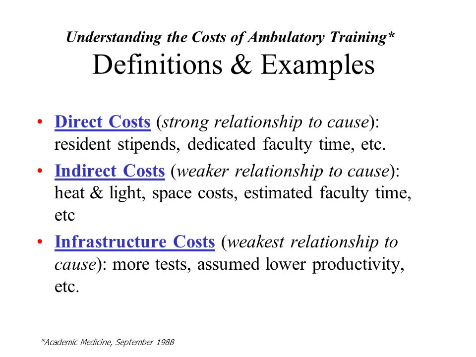 Understanding the Costs of Ambulatory Training* Definitions & Examples Direct Costs (strong relationship to cause): resident stipends, dedicated faculty time, etc.