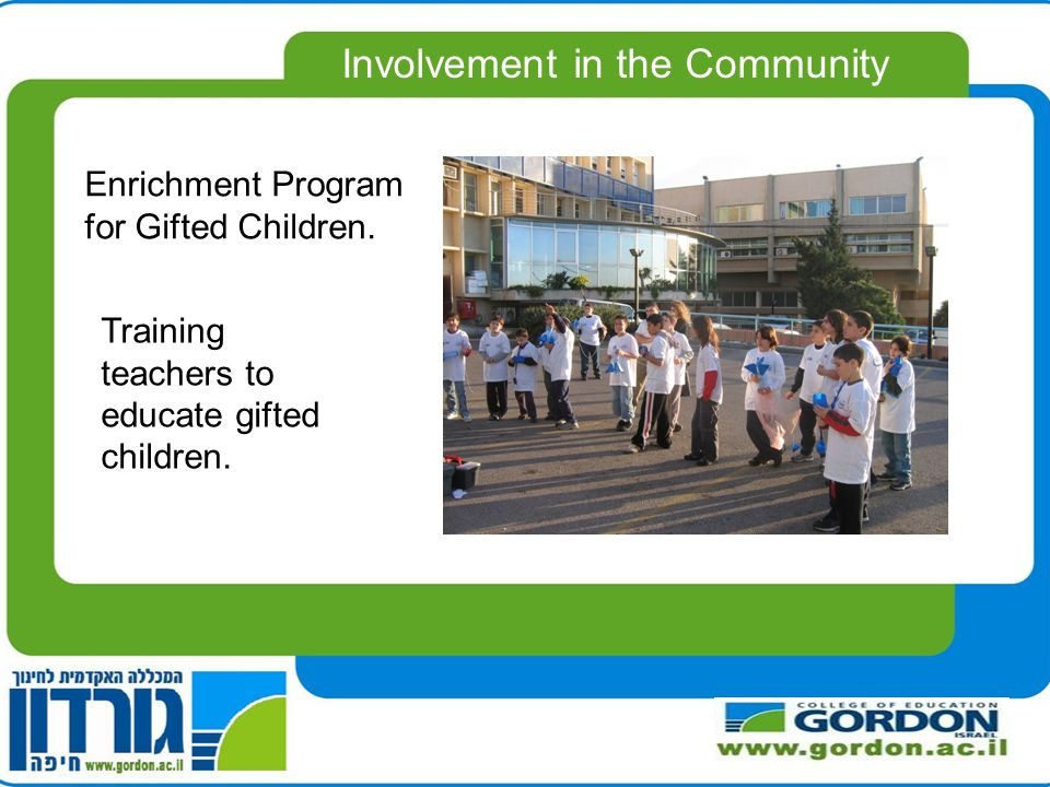 Enrichment Program for Gifted Children. Training teachers to educate gifted children.