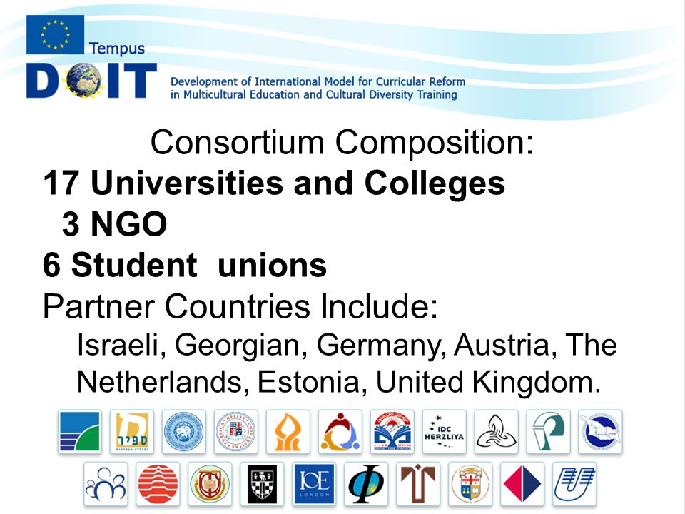Consortium Composition: 17 Universities and Colleges 3 NGO 6 Student unions Partner Countries Include: Israeli, Georgian, Germany, Austria, The Netherlands, Estonia, United Kingdom.