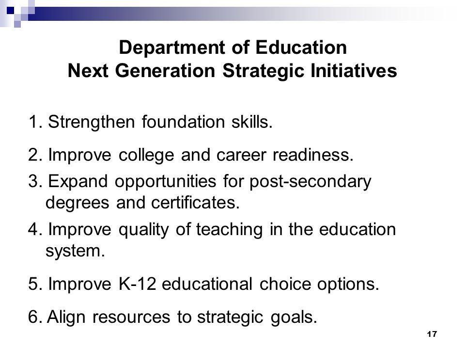 17 Department of Education Next Generation Strategic Initiatives 1.