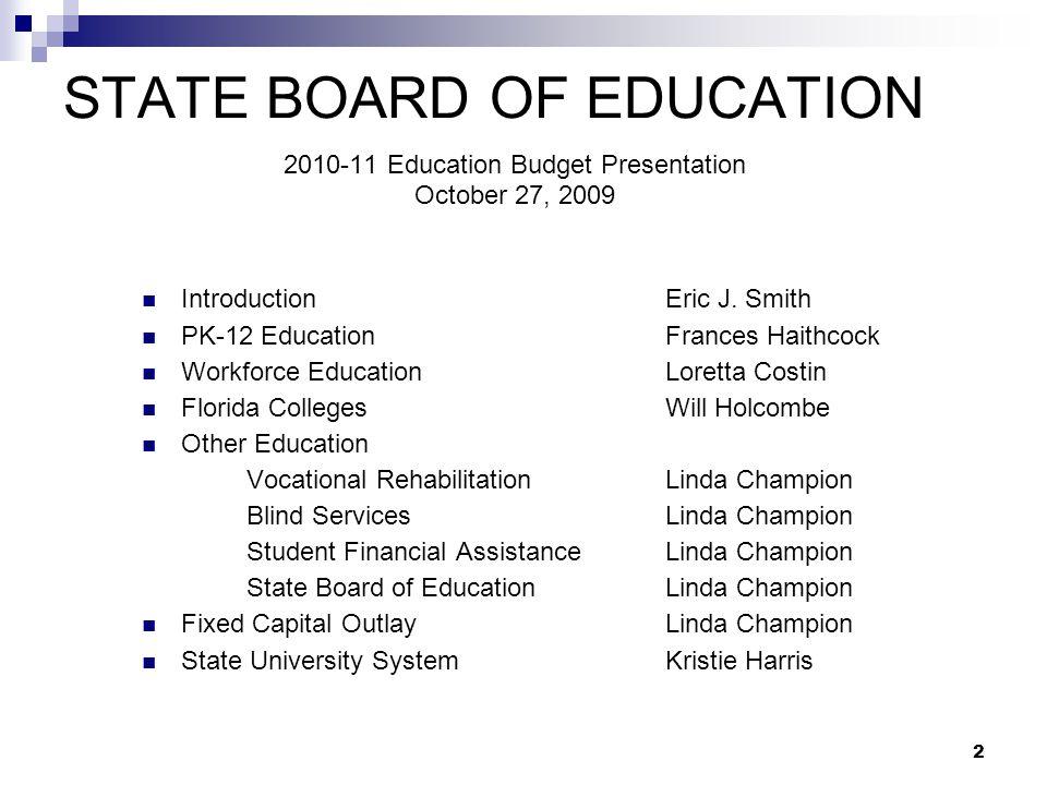 2010-11 Fixed Capital Outlay Legislative Budget Request Linda Champion Deputy Commissioner, Finance and Operations