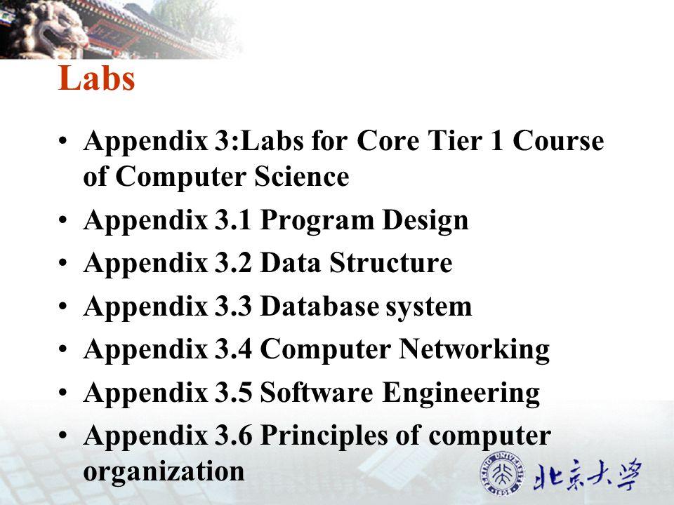 Labs Appendix 3:Labs for Core Tier 1 Course of Computer Science Appendix 3.1 Program Design Appendix 3.2 Data Structure Appendix 3.3 Database system Appendix 3.4 Computer Networking Appendix 3.5 Software Engineering Appendix 3.6 Principles of computer organization
