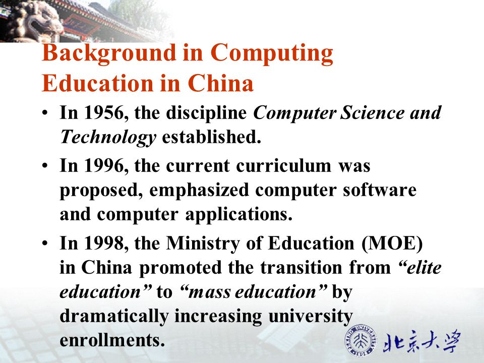 CS Related Undergraduates is 5% of the Total Enrollment YearNumber of universities built up computer programs 1994137 programs 2002484 programs 2003505 programs, an increase of 4% 2004652 programs, an increase of 29% 2005771 programs 2007847 programs by 598 universities, with the total enrollment of over 430,000 undergraduates.