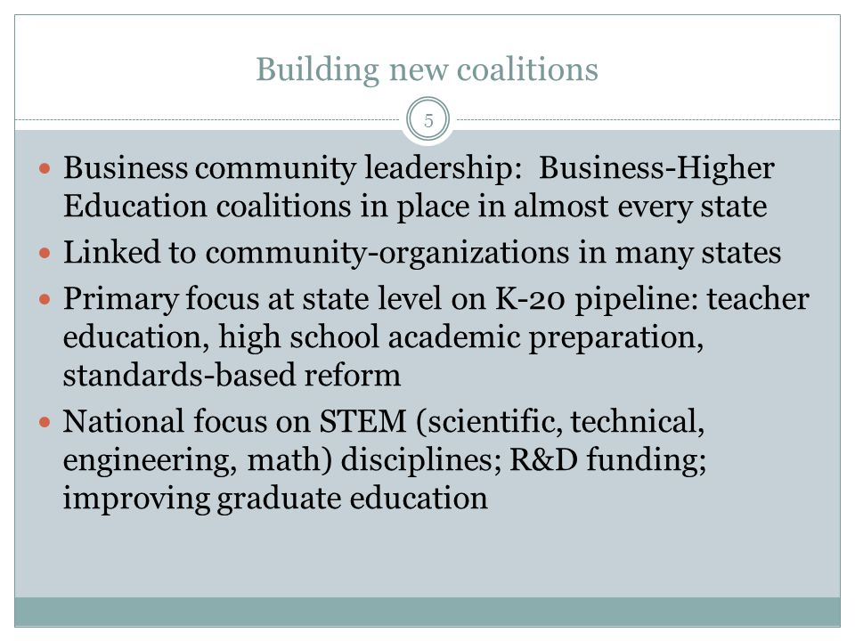 Building new coalitions Business community leadership: Business-Higher Education coalitions in place in almost every state Linked to community-organizations in many states Primary focus at state level on K-20 pipeline: teacher education, high school academic preparation, standards-based reform National focus on STEM (scientific, technical, engineering, math) disciplines; R&D funding; improving graduate education 5