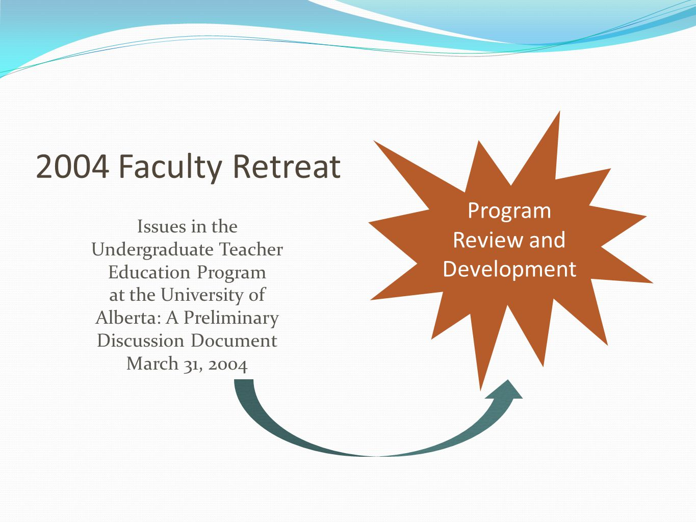 2004 Faculty Retreat Issues in the Undergraduate Teacher Education Program at the University of Alberta: A Preliminary Discussion Document March 31, 2004 Program Review and Development