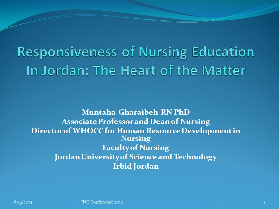 Muntaha Gharaibeh RN PhD Associate Professor and Dean of Nursing Director of WHOCC for Human Resource Development in Nursing Faculty of Nursing Jordan University of Science and Technology Irbid Jordan 6/13/2014JNC Conference 20101