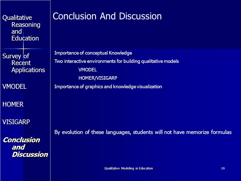 Qualitative Modeling in Education19 Qualitative Reasoning and Education Survey of Recent Applications VMODEL HOMER VISIGARP Conclusion and Discussion Conclusion And Discussion Importance of conceptual Knowledge Two interactive environments for building qualitative models VMODEL HOMER/VISIGARP Importance of graphics and knowledge visualization By evolution of these languages, students will not have memorize formulas