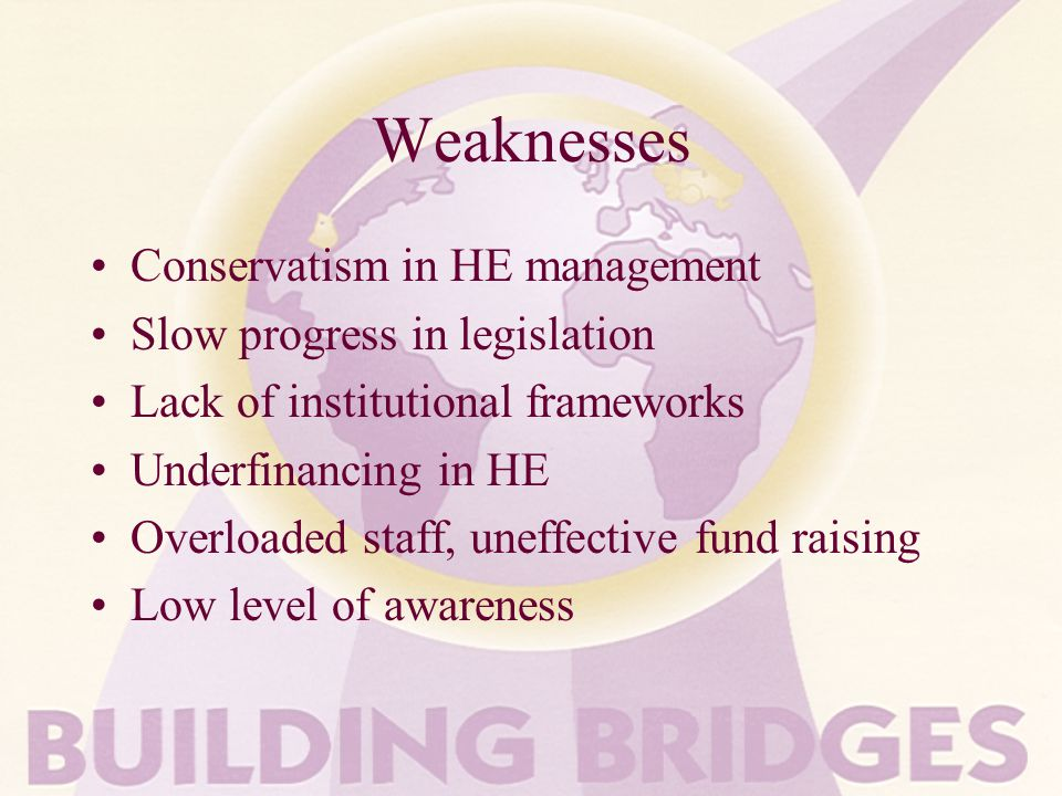 Weaknesses Conservatism in HE management Slow progress in legislation Lack of institutional frameworks Underfinancing in HE Overloaded staff, uneffective fund raising Low level of awareness