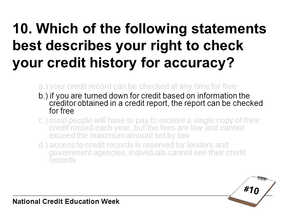 # 10 National Credit Education Week 10.