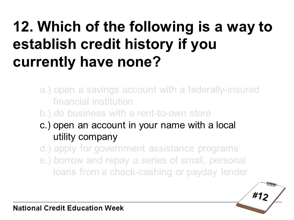 # 12 National Credit Education Week 12.