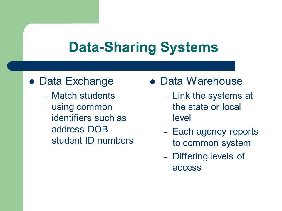 Data-Sharing Systems Data Exchange – Match students using common identifiers such as address DOB student ID numbers Data Warehouse – Link the systems at the state or local level – Each agency reports to common system – Differing levels of access