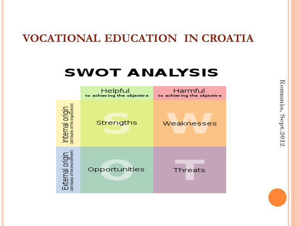 VOCATIONAL EDUCATION IN CROATIA Romania, Sept.2012.