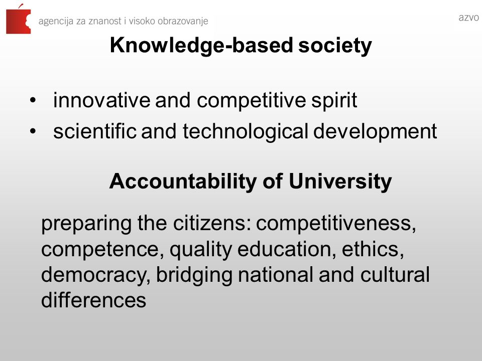 Knowledge-based society innovative and competitive spirit scientific and technological development Accountability of University preparing the citizens: competitiveness, competence, quality education, ethics, democracy, bridging national and cultural differences