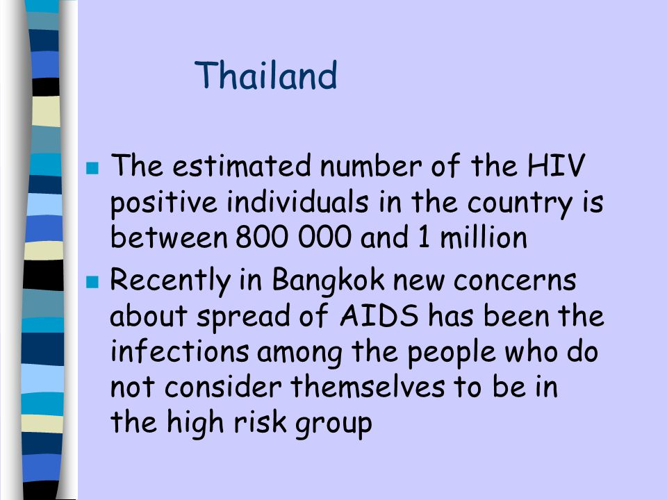 Thailand n The estimated number of the HIV positive individuals in the country is between 800 000 and 1 million n Recently in Bangkok new concerns about spread of AIDS has been the infections among the people who do not consider themselves to be in the high risk group