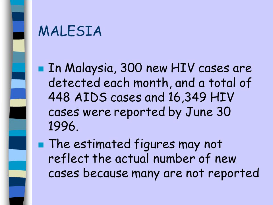 MALESIA n In Malaysia, 300 new HIV cases are detected each month, and a total of 448 AIDS cases and 16,349 HIV cases were reported by June 30 1996.
